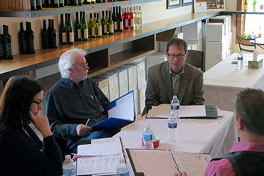 Our tasting panel discussing a group  of Michigan wines.