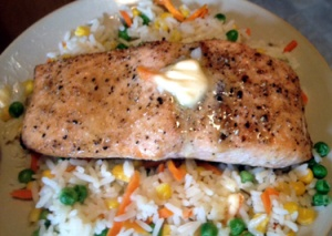 Pinot Noir or a nice crisp/light Sauv Blanc for salmon.