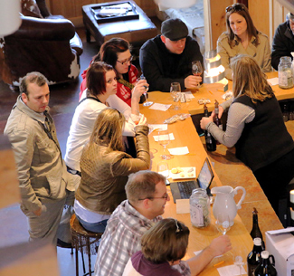 The busy April 11 tasting room at 45 North.