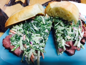 Fresh carved roast beef, swiss and a very tasty cole slaw.