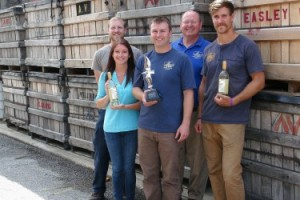 Ryan Robertson, cellar crew, Blake Loudermilk, grower relations, Jeff Martin, winemaker, Mark Easley, Nathan Schaefer, production manager.